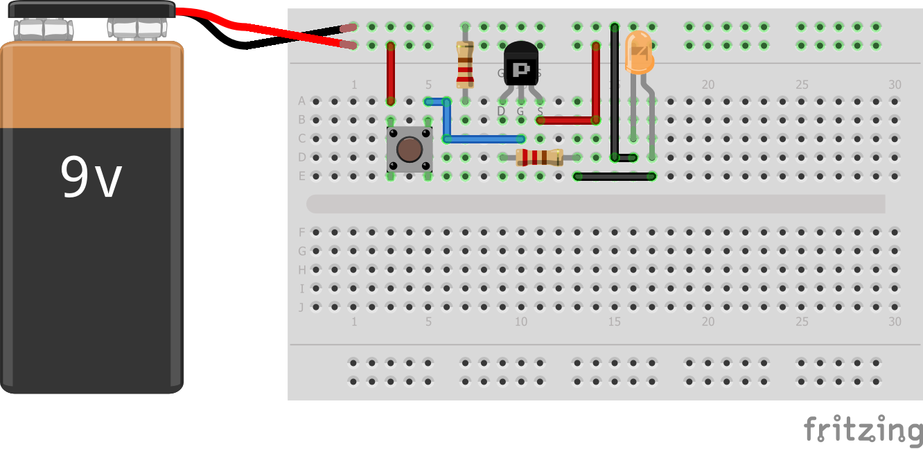 Using a P-channel MOSFET as in Normally Close Circuit | Ian's World